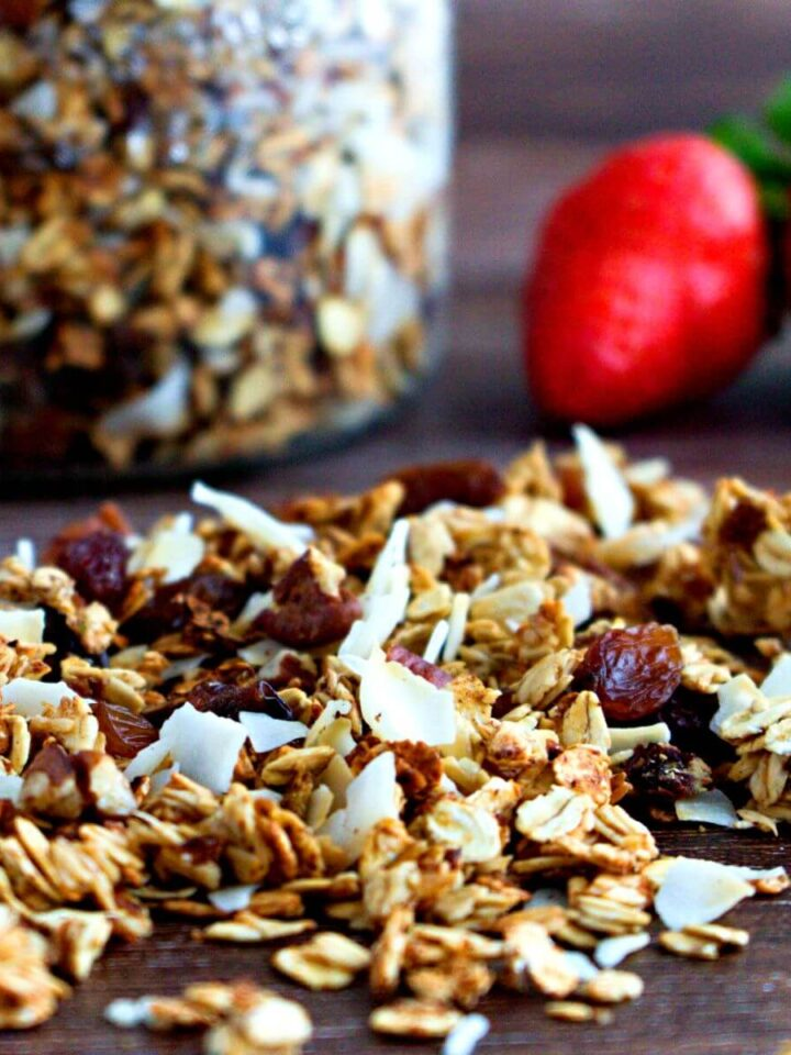 granola with coconut and nuts.