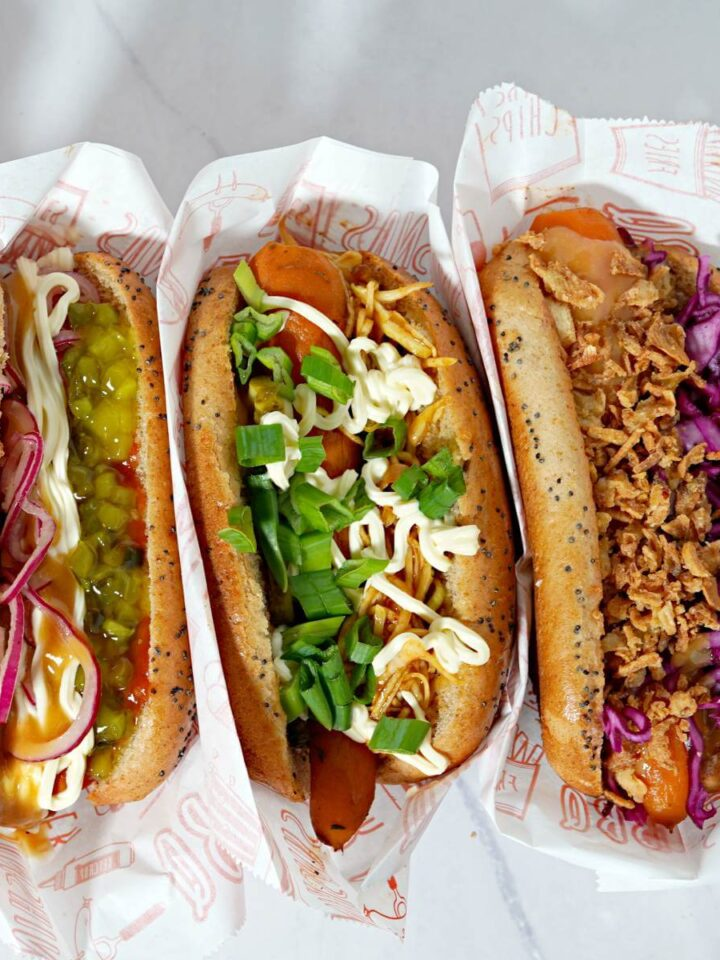 3 types of carrot hot dogs in wrapper.