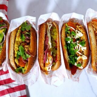 vegan hot dogs ready for serving.