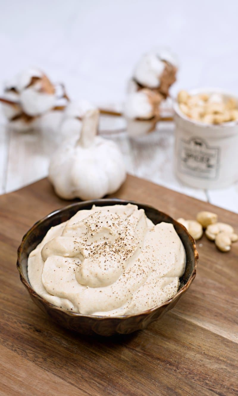 cashew mayonnaise in a brown bowl