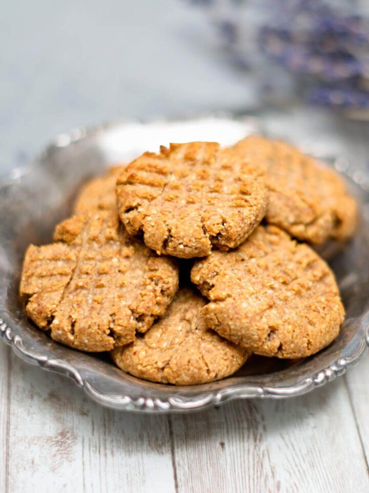PB cookies on a silver plate.