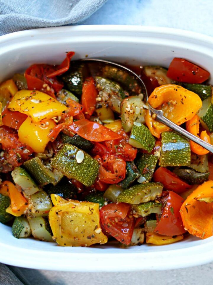 roasted vegetables in a bowl.