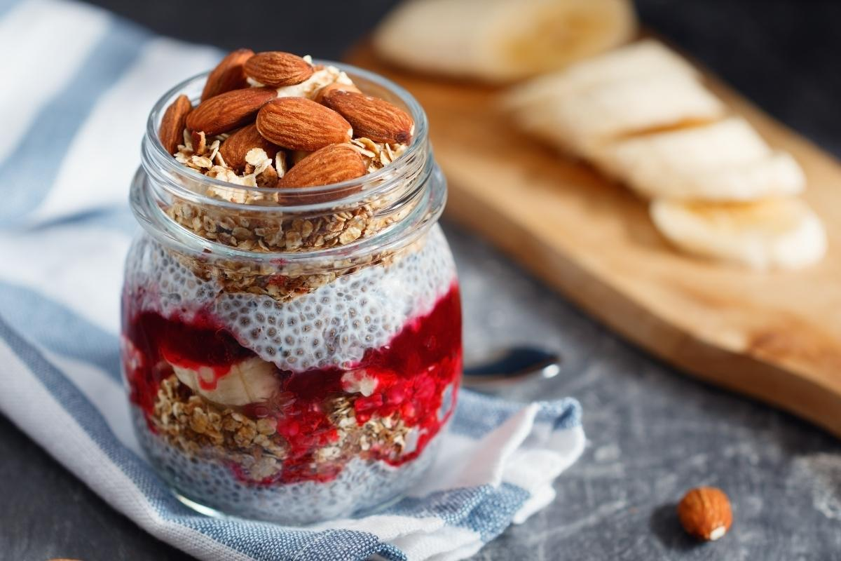 chia pudding with granola, berry jam and almonds.