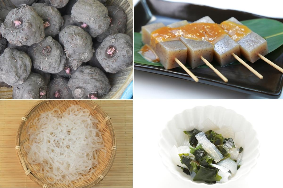 Image collage of konjac root uses.