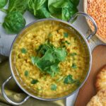 dal in bowl with naan.