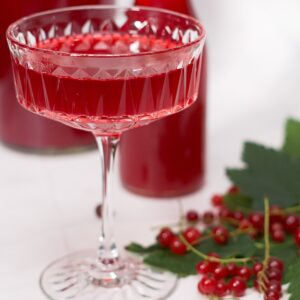 red currant juice in a champange glass.
